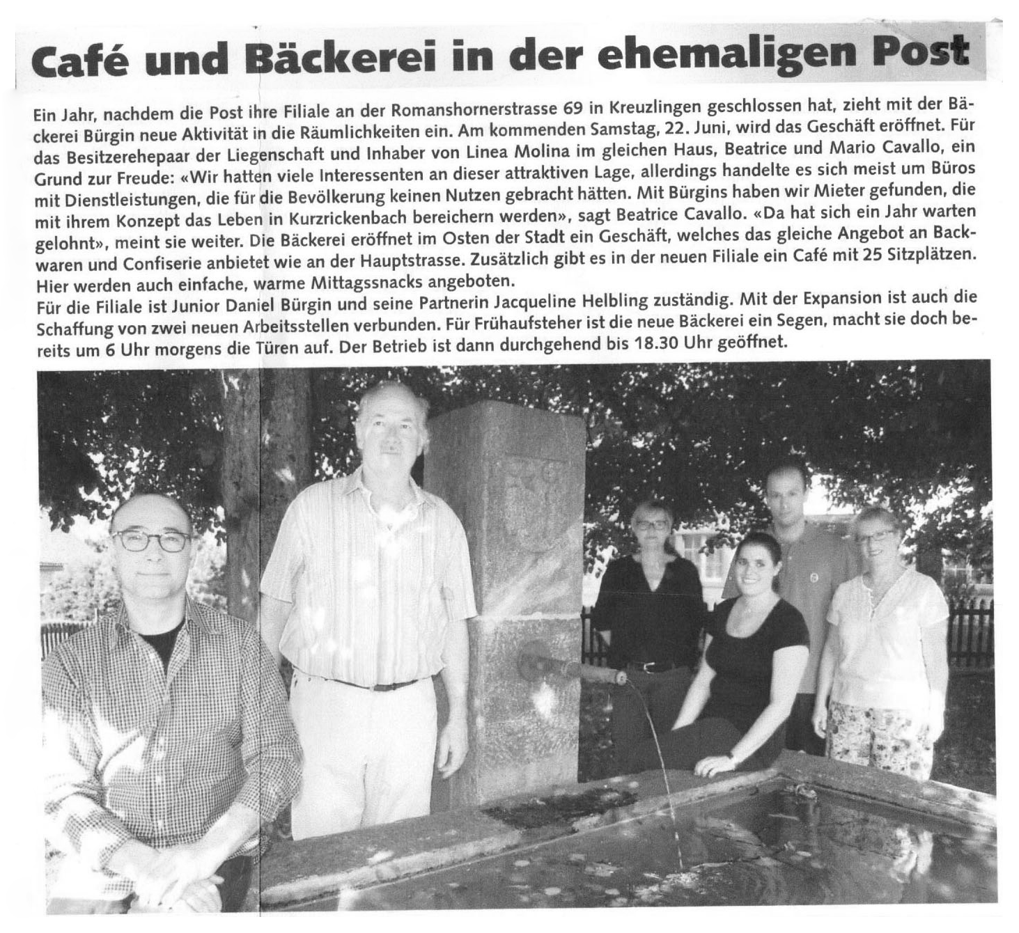 Zeitungsartikel_Eroeffnung_Filiale_Cafe_Kurzrickenbach